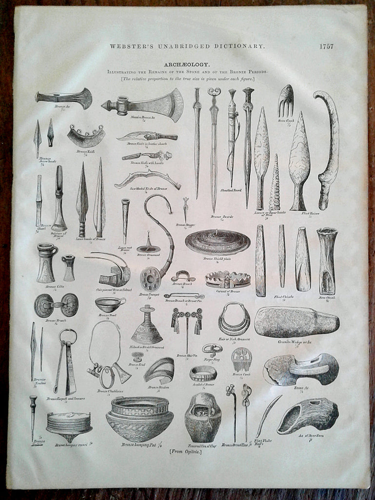 Archaeology 1878 Illustration Antique Print Excavation Artifacts Stone Bronze Period Archeology Archaeologist - Paperink Graphics