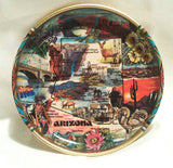 Arizona State Map Tin Souvenir Plate Tourism Roadside Scenes Wall Decoration