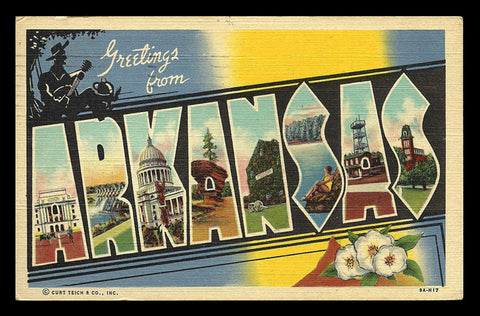Arkansas Greetings Postcard 1946 Large Letter Scenic State Flower