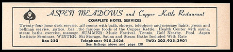 Aspen Meadows Hotel Ad Aspen Colorado Restaurant Ski 1964 Roadside Ad Travel