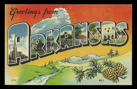 Arkansas Large Letter Postcard 1946 Greetings from Arkansas Scenic Pinecones PC