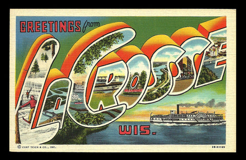 LaCrosse Wisconsin Postcard Large Letter Scenic Greetings Steamship Paddleboat WI PC