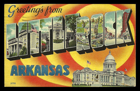 Arkansas Large Letter Postcard 1946 Greetings from Little Rock Scenic Capitol PC