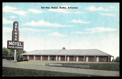 Beebe Arkansas Postcard Bel-Mar Motel Mid Century Modern PC