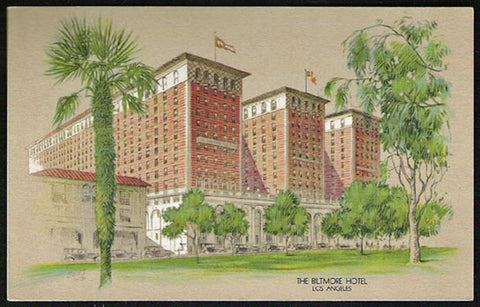 Biltmore Hotel Postcard Los Angeles California CA Litho