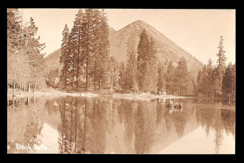 Black Butte RPPC Sisson California Postcard Lake Reflections Real Photo CA PC