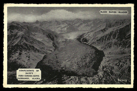Black Rapids Glacier Postcard Alaska Advertising Kate's Curios Fairbanks Advertising AK PC