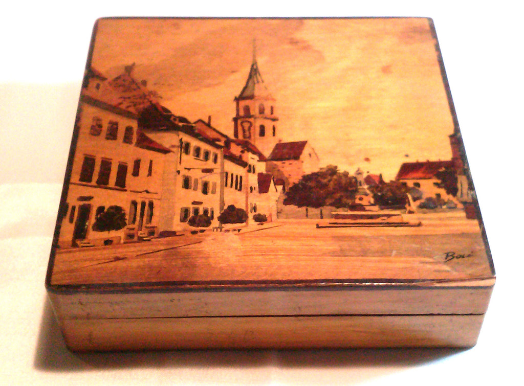 Artist Jean Claude Boli Wood Box French Village Scene Painted Woodenware Art Box