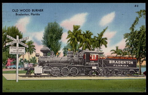 Bradenton RR Engine Postcard 1956 Florida Old Wood Burner Train Engine