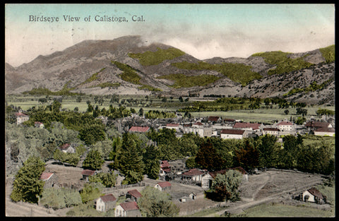 Calistoga CA Postcard 1910 California Bird's Eye View