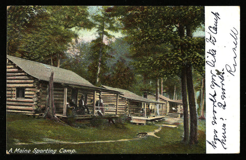 Log Cabin Camp Postcard 1906 Maine Sporting Camp East Corning Multiple Postmarks ME PC