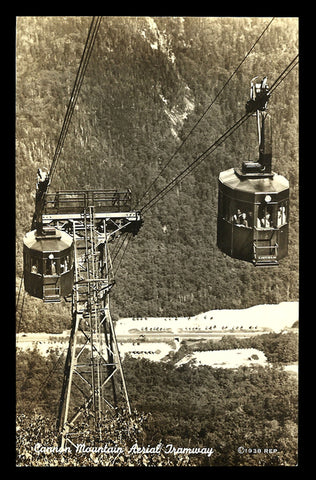 Cannon Mountain Aerial Tramway Photo Postcard 1938 New Hampshire Cannon Mt Photo NH PC
