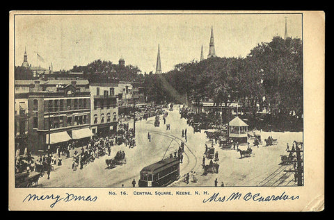 Central Square Postcard 1905-6 New Hampshire Keene Trolley Horses Shoppers NH PC