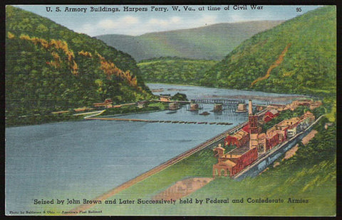 Armory Buildings Postcard 1975 West Virginia Harpers Ferry John Brown Civil War WV PC