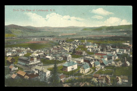Colebrook Postcard 1909 New Hampshire Birds Eye View NH PC