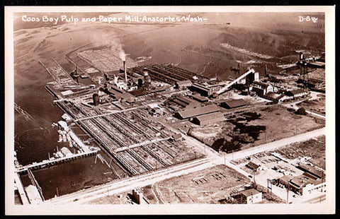 Anacortes WA RPPC Aerial View Coos Bay Paper Mill Real Photo Postcard