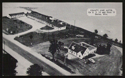 County Line Motel Postcard Wisconsin Darien Roadside Aerial US14 & St 11 WI PC