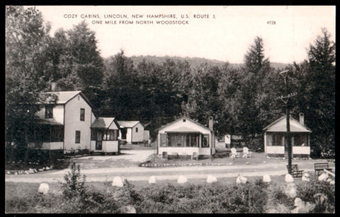 Cozy Cabins Postcard New Hampshire Lincoln near North Woodstock Tourists NH PC