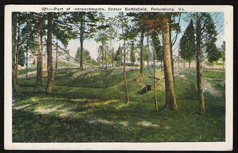 Crater Battlefield Postcard Virginia Petersburg Intrenchments Blue Ridge VA PC