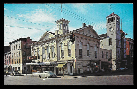 Restaurant Storefronts Postcard West Virginia Charles Town Charles Washington Hall WV PC