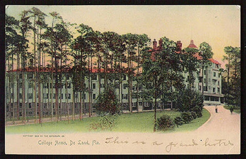 College Arms Hotel Postcard De Land Florida 1907
