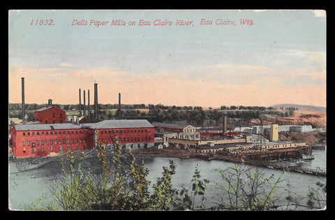 Dells Paper Mills Postcard 1914 Wisconsin On River Eau Claire WI PC
