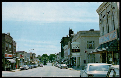 Dodgeville Storefronts Postcard Wisconsin Signs Cars Downtown Business WI PC