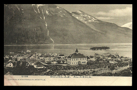 Douglas Alaska Postcard Harbor Town View Mountains Albertype Postcard AK PC
