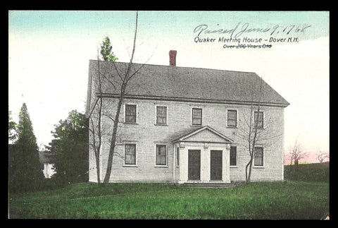 Genealogy Whittier Uussey Evans Postcard New Hampshire Dover Quaker Meeting House NH PC