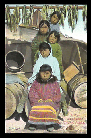 Eskimo Inuit Children Postcard  Alaska 1909 Seattle Exposition AK PC