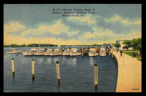 Charter Fishing Boats Postcard Florida Miami Beach Bakers Docks FL PC