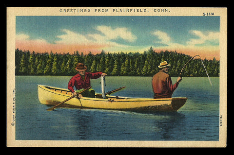 Fishing Plainfield Lake Postcard Connecticut 1959 Greetings Canoe Big Catch CT PC
