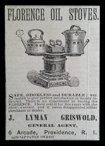 Florence Oil Stoves Antique AD 1881 J. Lyman Griswold, Providence RI Kitchen Stove Advertising - Paperink Graphics