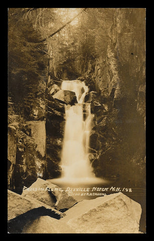 Falls in Flume Real Photo Postcard 1913 New Hampshire Dixville Notch Cassens NH RPPC