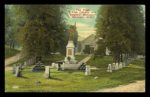 Frost Free Library Postcard New Hampshire Marlboro Soldiers Monument Cannon NH PC