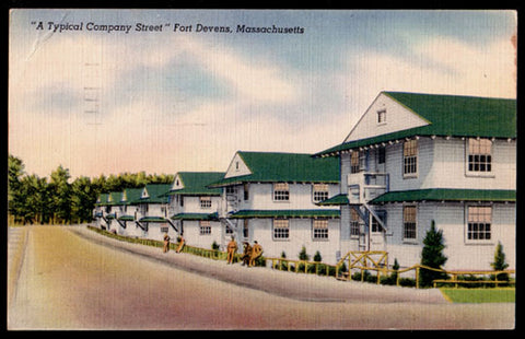 Enlisted Men's Barracks Postcard 1943 Massachusetts Fort Devens Soldier Company Street MA PC