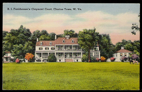 Claymont Court Postcard West Virginia R J Funkhouser Charles Town WV PC