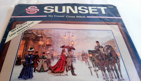 A Gracious Era Horses Carriage Sunset No count Cross Stitch Kit 1994 No. 13923 - Paperink Graphics
