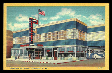 Deco Depot Greyhound Bus Postcard West Virginia Charleston WV Bus Signs Flag Folks PC