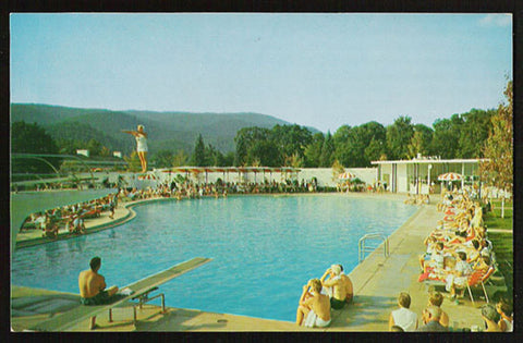 Pool Greenbrier Motel Postcard 1950s West Virginia White Sulphur Springs Diving Roadside WV PC