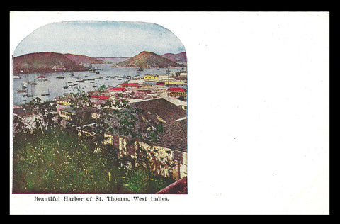 Early Harbor Postcard Boats Houses St Thomas West Indies PC