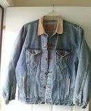 Arizona Jean Jacket Harley Davidson Patch Cotton Denim Large Tall Men's Size L