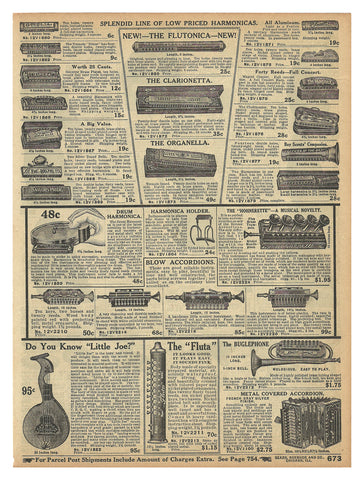 Drum Harmonica 1914 Models 17 Illustrated Original Period Sears 1914 Catalog AD - Paperink Graphics