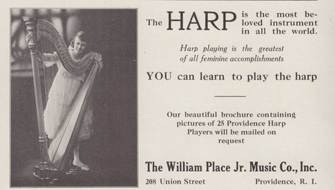 Musical HARP Instrument Teaching 1918 William Place Jr. Music Co. RI Photo AD - Paperink Graphics