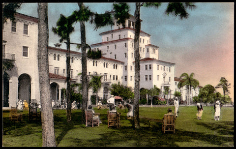 Golf Putting Green Postcard Florida Sebring Harder Hall Handcolored Albertype FL PC