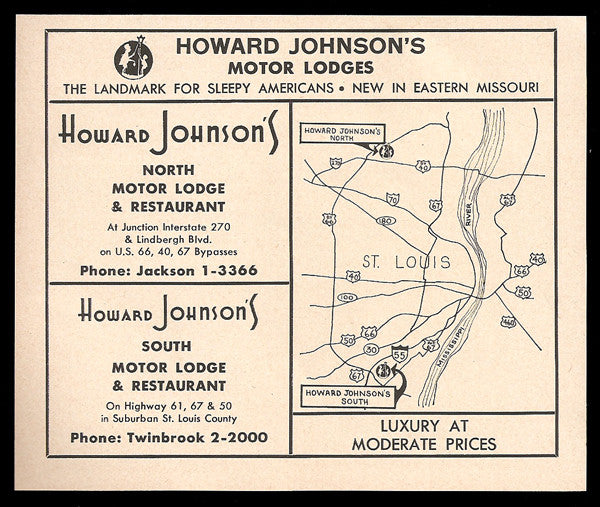 Howard Johnson Motor Lodge Rt66 Ad St Louis MO 1964 Roadside Ad HoJo N & S - Paperink Graphics