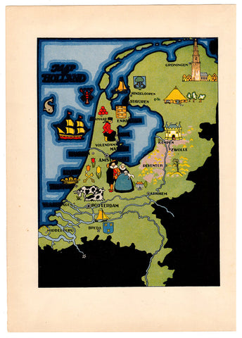 Vintage Art Map Holland Pictorial Graphic Art Print Suitable for Framing Collage Mixed Media