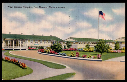 Military Hospital Postcard 1943 Massachusetts Fort Devens New Station Hospital MA PC