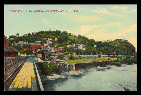 B & O Station Postcard West Virginia Harpers Ferry Train Railroad WV PC