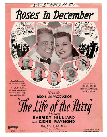 Vintage Sheet Music Roses in December Starring Harriet Hilliard Gene Raymond 1937 Music Sheet Cover Art Collectible Movie Memorabilia